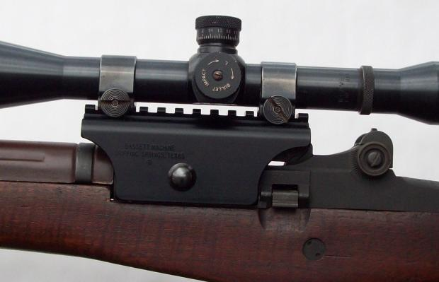 Bassett M14/M1A Picatinny Rail Scope Mount - mounted with Weaver Low Rings